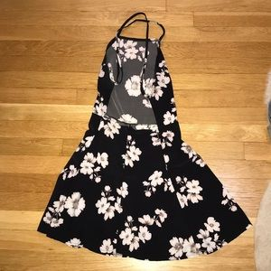Brandy Melville Black Silky Floral Dress